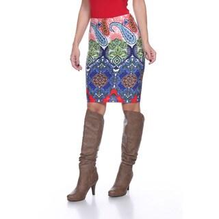 White Mark Women's Flora Multicolor Polyester Knee-length Pencil Skirt