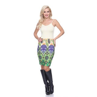 White Mark Women's Flora Multicolor Polyester Knee-length Pencil Skirt