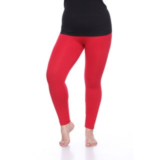 White Mark Women's Red Knit Plus-size Super-stretch Solid Leggings
