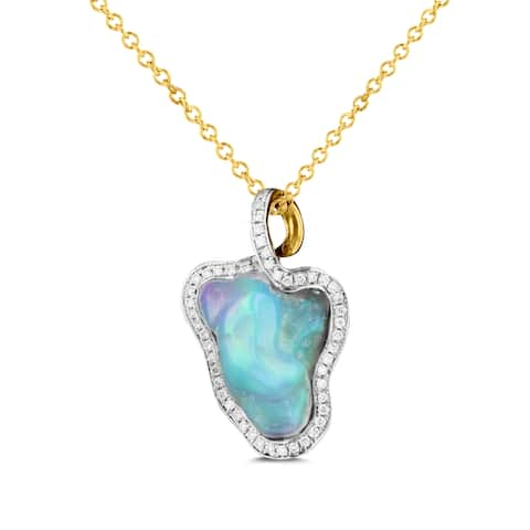 La Vita Vital 14K Yellow Gold 5.13ct TGW Ethiopian Opal and 1/4ct TDW Diamond Pendant Necklace - Silver