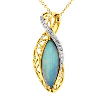 14k Yellow Gold Opal (6.07ct), and Diamond Necklace (1/2ct TDW) (SI1-SI2, G-H)