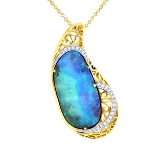 14K Yellow Gold Natural Australian Boulder Opal 25 3/10 ct and Diamond 6/25 ct TDW (VS-SI1, G-H) Necklace by La Vita Vital