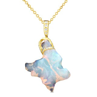 La Vita Vital 14K Yellow Gold 14.7ct TGW Ethiopian Opal and .27ct TDW Diamond Pendant Necklace (VS-SI1, G-H)