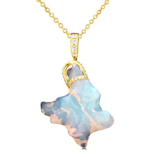 La Vita Vital 14K Yellow Gold 14.7ct TGW Ethiopian Opal and .27ct TDW Diamond Pendant Necklace