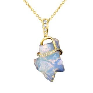 La vita Vital 14K Yellow Gold 14.44ct TGW Ethiopian Opal and .33ct TDW Diamond Pendant Necklace (VS-SI1, G-H)