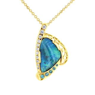 14k Yellow Gold, Opal, Tourmaline, and 1/5ct TDW Diamond Necklace (SI1-SI2, G-H)