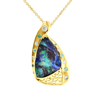 14k Yellow Gold, Opal, Tourmaline, and 3/8 ct TDW Diamond Necklace (SI1-SI2, G-H)