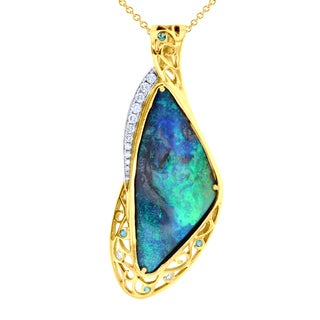 14K Yellow Gold Australian Boulder Opal 34 4/25 ct, Diamond 0.45ct TDW - Blue
