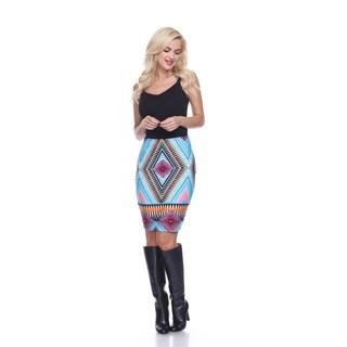 Women's Multicolor Polyester Geometric Print Knee-length Pencil Skirt