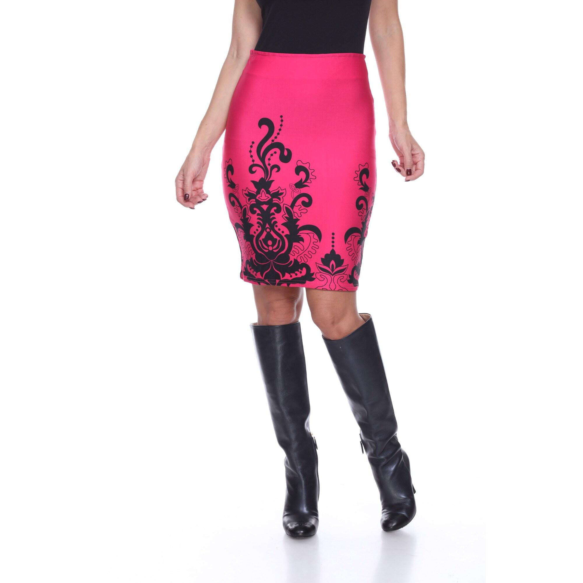Women's Knee-length Pencil Skirt (Black/Pink - XL) (polye...