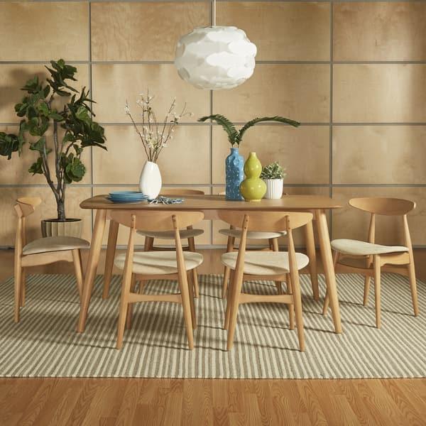 Norwegian Danish Modern Oak Tapered Dining Set By