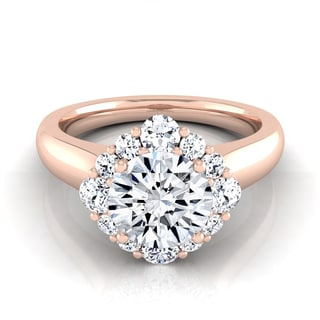 14k Rose Gold IGI-certified 1 1/2ct TDW Round Diamond Compass Point Halo Engagement Ring (H-I,VS1-VS2)