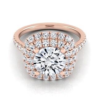 14k Rose Gold 1 3/4ct TDW Diamond IGI-certified Pave Shank (H-I, VS1-VS2)