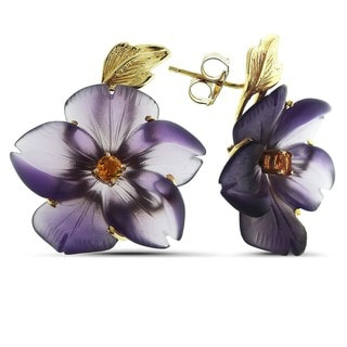 Marc & Ivy 14k Yellow Gold, Carved Purple Agate, and Citrine Flower Earrings