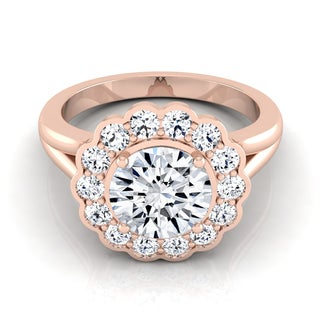 14k Rose Gold 1 3/8ct TDW Round Diamond Floral Halo Engagement Ring (H-I, VS1-VS2)