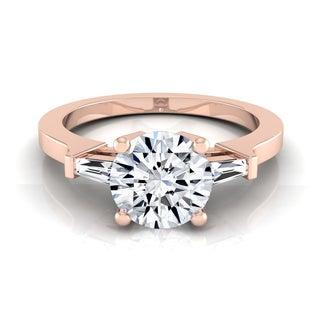 14k Rose Gold IGI-certified 1 1/4ct TDW Round & Baguette Diamond Engagement Ring