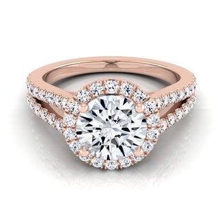 14k Rose Gold 1 1/2ct TDW Diamond IGI-certified Engagement Ring With Split Pave Shank ( H-I, VS1-VS2)
