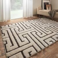 "Contemporary Ivory/ Dark Brown Geometric Maze Shag Rug - 3'10"" x 5'7"""