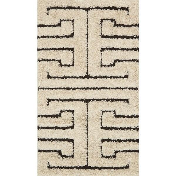 "Contemporary Ivory/ Dark Brown Geometric Maze Shag Rug - 2'3"" x 3'9"""