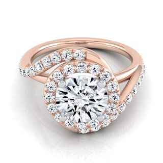 14k Rose Gold Round Certified Diamond Wave Engagement Ring