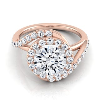 14k Rose Gold Round Certified Diamond Wave Engagement Ring