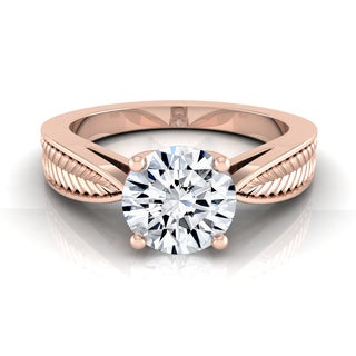 14k Rose Gold IGI-certified 1ct TDW Round Diamond Engagement Ring (H-I, VS1-VS2)