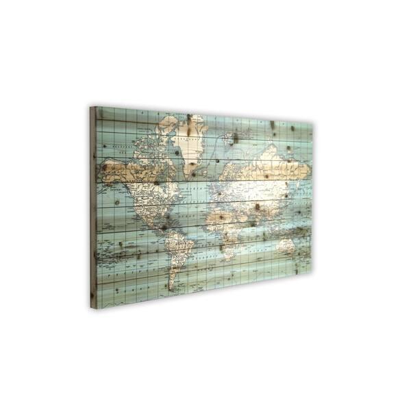 \'World Map\' Wood Plank Wall Art