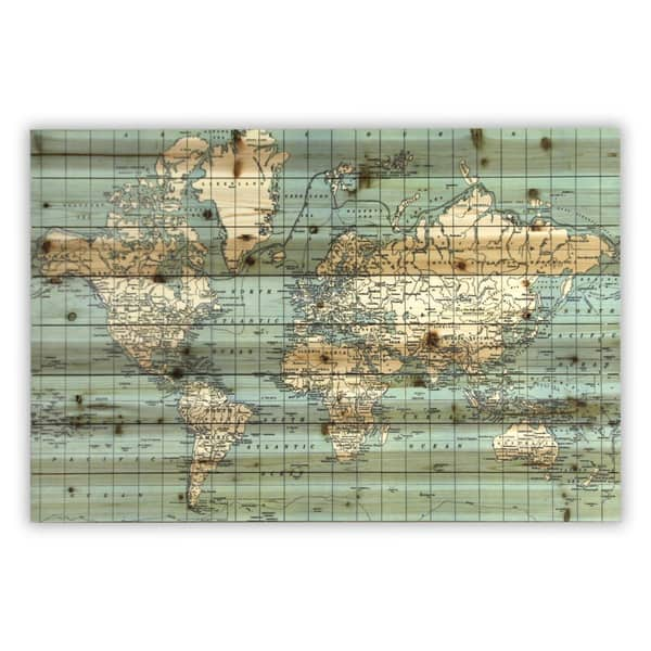 \'World Map\' Wood Plank Wall Art