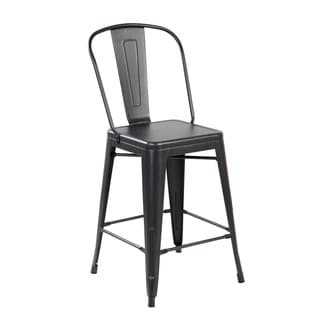 26-inch Seat Height Industrial Iron Counter Dining Barstool with Back (Set of 2)