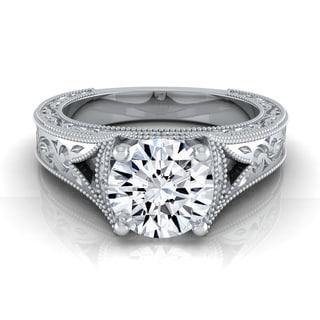 14k White Gold IGI-certified 1ct TDW Round Diamond Antique Milgrain Engagement Ring (H-I, VS1-VS2)