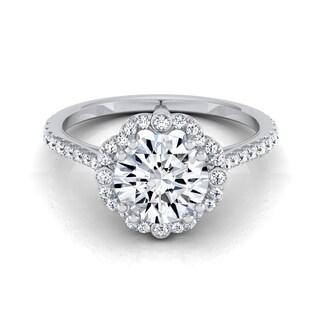 14k White Gold 1 1/4ct TDW Diamond IGI-certified Scalloped Halo Engagement Ring With Graduated Shank (H-I, VS1-VS2)