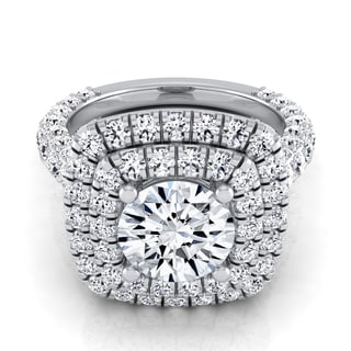 14k White Gold IGI-certified 3 1/6ct TDW Round Diamond Double Square Halo Engagement Ring (H-I,VS1-VS2)