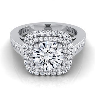 14k White Gold IGI-certified 1 2/3ct TDW Round Diamond Double Halo Engagement Ring