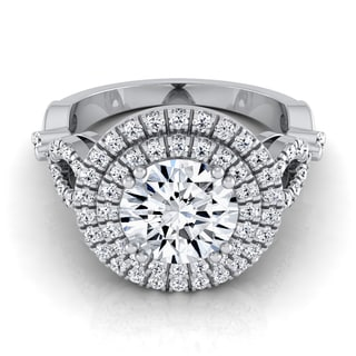 14k White Gold IGI-certified 1 1/2ct TDW Round Diamond Double Halo Engagement Ring With Tear Drop Detail Shank (H-I,VS1-VS2)