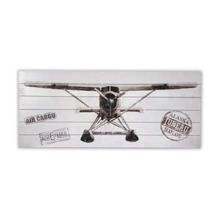 'Plane Front View' Multicolor Wood Wall Art