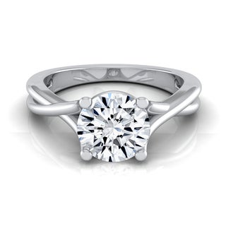 14k White Gold IGI-certified 1ct TDW Round Diamond Solitaire Engagement Ring (H-I, VS1-VS2)