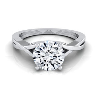 14k White Gold IGI-certified 1ct TDW Round Diamond Solitaire Engagement Ring With Cathedral Setting (H-I,VS1-VS2)