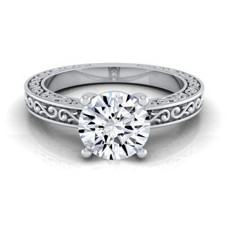 14k White Gold IGI-certified 1ct TDW Round Diamond Solitaire Engagement Ring with Scroll Detail Shank (H-I,VS1-VS2)