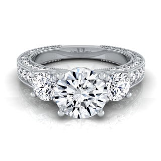 14k White Gold IGI-certified 1 7/8ct TDW Round 3-Stone Engagement Ring