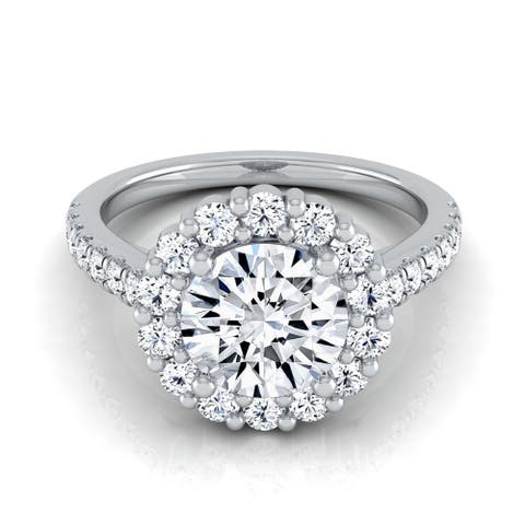 14k White Gold 1 5/8ct TDW Diamond IGI-certified Halo Engagement Ring with Pave Shank