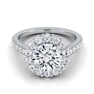 14k White Gold 1 5/8ct TDW Diamond IGI-certified Halo Engagement Ring With Pave Shank ( H-I, VS1-VS2)