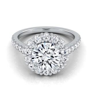 14k White Gold 1 5/8ct TDW Diamond IGI-certified Halo Engagement Ring With Pave Shank
