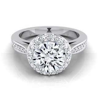 14k White Gold IGI-certified 1 3/8ct Round Diamond Halo Engagement Ring With Pave Shank
