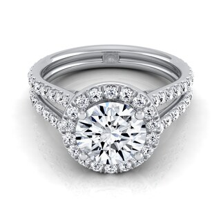 14k White Gold Certified 1 7/ 8ct Diamond Halo Engagement Ring