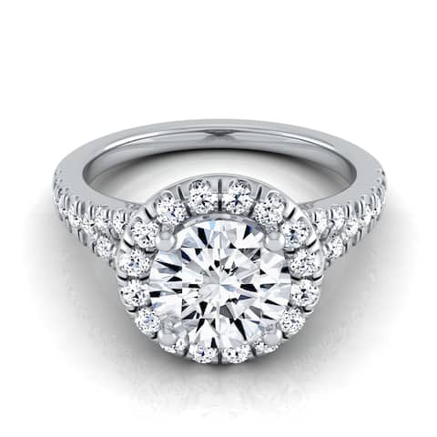 14k White Gold IGI-certified 1 1/2ct TDW Round Diamond Halo Engagement Ring with Semi-split Shank