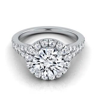 14k White Gold IGI-certified 1 1/2ct TDW Round Diamond Halo Engagement Ring with Semi-split Shank