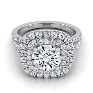 14k White Gold IGI-certified 1 4/5ctw Round Diamond Double Square Halo Engagement Ring With Pave Split Shank (H-I,VS1-VS2)