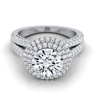 14k White Gold 1 7/8ct TDW Diamond IGI-certified Double Halo Engagement Ring with Split Pave Shank