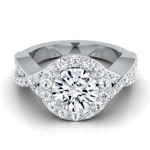 14k White Gold IGI-certified 1 3/4ct TDW Round Diamond Halo Engagement Ring with Infinity Shank