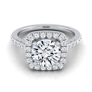 14k White Gold Certified 1 1/ 2ct Diamond Square Halo Engagement Ring